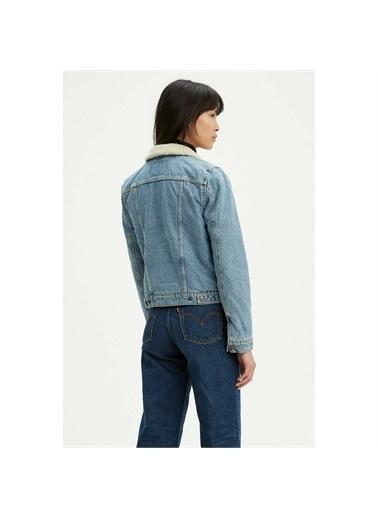 Levi's® 361360000Içi Kürklü Çıtçıtlı Düğmeli Cepli Buz Si Kadın Kot Ceket Mavi